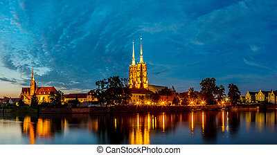 Wroclaw panorama - A cityscape cathedral, river Odra....