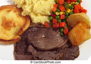 Roast beef meal from above - A meal of roast beef yorkshire...