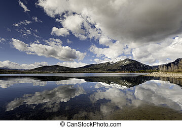 Clouds reflection in a still water lake