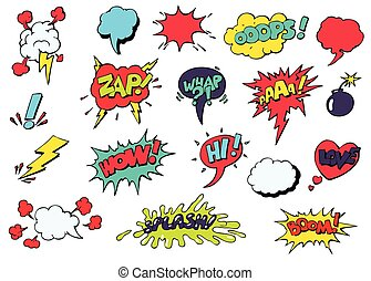 Comic speech bubbles for different emotions vector - Set of...