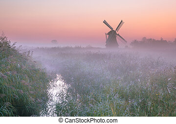 Polder landscape with traditional windmill - Polder...