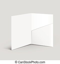 white empty open folder template standing on the table