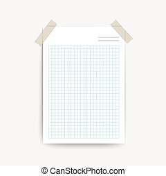 blank note paper template isolated on white