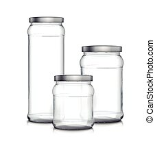 empty glass jars set isolated on white background