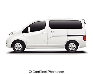 white commercial van isolated on white background