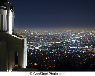 Above Los Angeles - Griffith Park Observatory, famous Los...