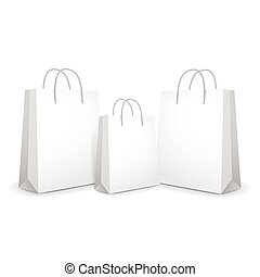 blank paper bags set isolated on white background