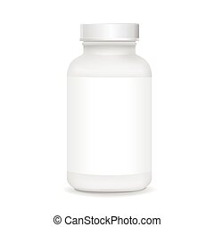 white plastic medical container isolated on white background