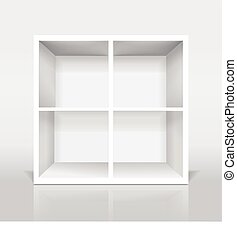 blank modern bookcase isolated on white background