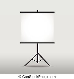 blank projection screen on tripod isolated on white