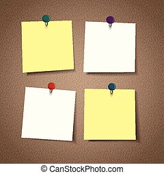 blank reminder sticky note isolated on corkboard