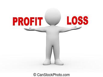 3d man open hands profit loss