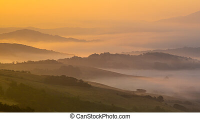 Sunrise over Tuscan Hills