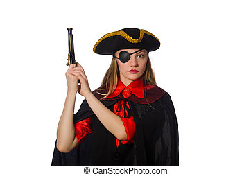 Pretty girl in carnival clothing with hand gun isolated on white