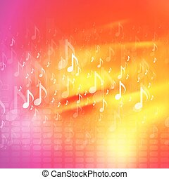 Music notes bright abstract background