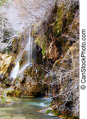 Natural   waterfall at river Cuervo in winter.  Spain