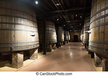 barrels in old cellar