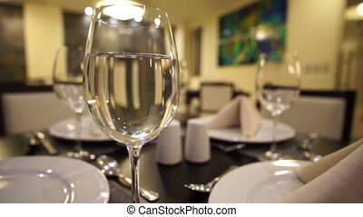 Glass of Water Restaurant Dolly - Short depth of field dolly...
