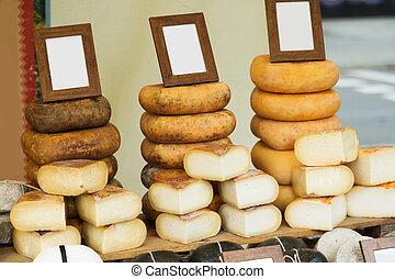 fresh European cheese at shop
