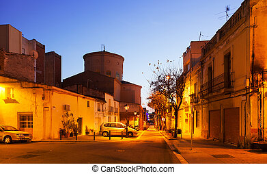 Evening view in Sant Adria de Besos. Catalonia - Evening...