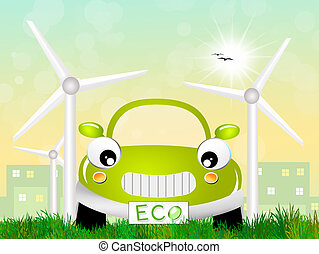 Ecological car - illustration of ecological car