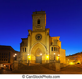 Evening view of Albacete Cathedral Spain