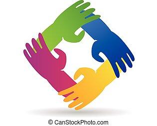 Trabalho equipe, mãos, ao redor, logotipo,