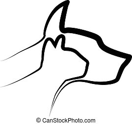 Cat and Dog logo - Cat and Dog stylized silhouettes logo...
