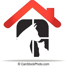 Pets care veterinary logo - Cat and dog home rescue...