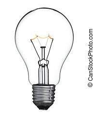 Isolated light bulb - An isolated tungsten light bulb turned...
