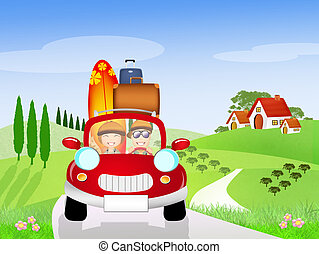 couple traveling - illustration of couple traveling