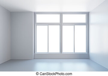 white empty room with window