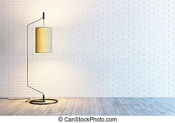 modern interior of the room with floor lamp