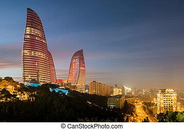 Baku - February 3 , 2015: Flame Towers on February 3 in...