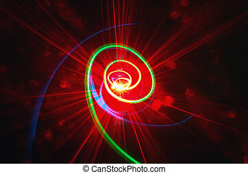 Greed spiral toward red light - A green spiral ascending to...