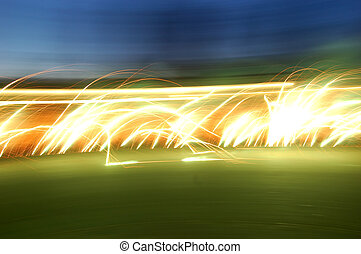 Sliding fire - Long exposure of fireworks with camera in...