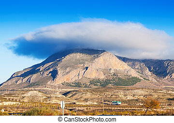 Cerro Jabalcon mount and Lenticular cloud near Baza...