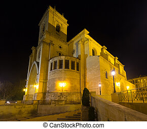 Cathedral of San Juan de Albacete Spain - Night view of...