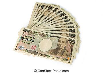 Japanese Yens - Close up of 10000 Japanese yens on white...