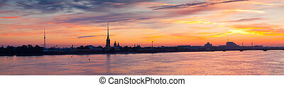 Panorama of St Petersburg in summer morning - Panorama of St...