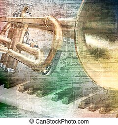 abstract grunge background with trumpet - abstract gray...