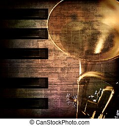 abstract grunge background with trumpet - abstract grunge...