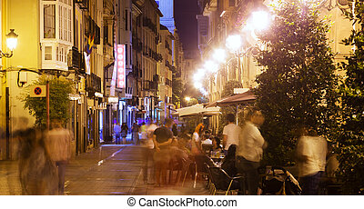 night street with restaurants in old spanish city. Logrono