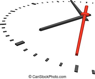 Clock face without numbers on isolated white background...