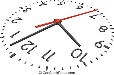 Clock face with red second hand and numbers on isolated...