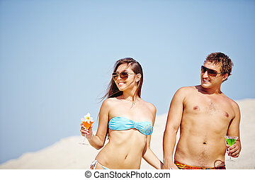 Couple at beach party