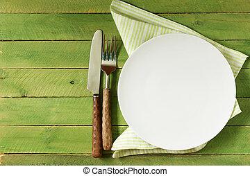 vazio, prato, com, cutelaria, e, guardanapo,