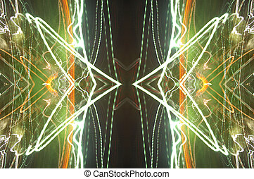 Abstract electricity storm - Mirrored image of lights that...