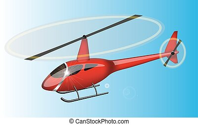 Red helicopter flying in the sky. Illuctration clip art