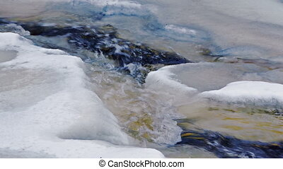River stream with floating ice in 4K - Water flows by...